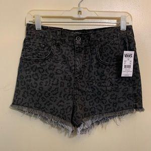 Vans High Waisted Leopard Distressed Denim Shorts